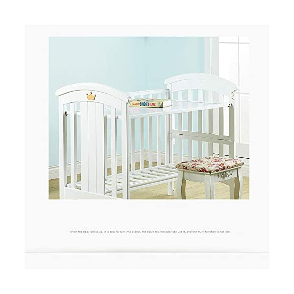 QINYUN Crib Baby Cradle Bed With Roller Solid Wood Multi-function Game Bed QINYUN 1. European classic bed type smooth curved corners: noble and elegant curved bed head polished many times without edges and corners to avoid baby scratches and scratches. 2. Crown decoration: cute crown three-dimensional decoration, I heard that both the prince and the princess like it. 3. Pacifier material anti-mite: the same material as the nipple, hardened, moderate hardness, care for the baby's young gums. 3