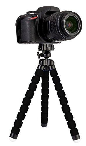 MyGadget Mini Dreibein Kamera Stativ - klein & ultra flexibel mit Schnellwechselplatte und Kugelkopf - universal Reise Tripod Kamerastativ in Schwarz