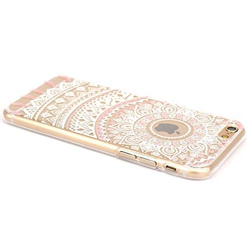 JIAXIUFEN TPU Coque - pour Apple iPhone 6 6S Silicone Étui Housse Protecteur - White Pink Tribal Mandala Color03