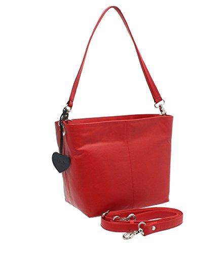 Pelle mala Anishka Collection a tracolla in pelle / Croce Body Borsa Secchiello 762_75 Red rosso