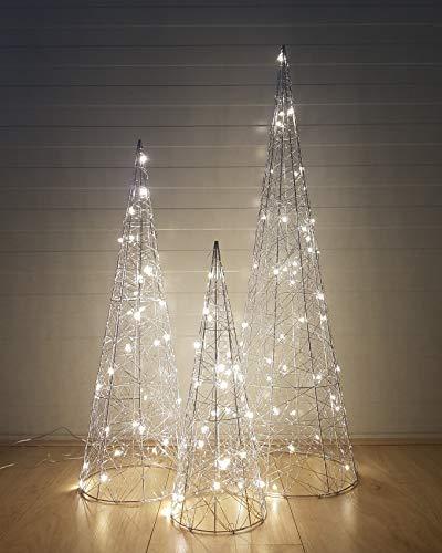 3-Teilig Led Dekorative Beleuchtung Silber-Kegel Advent Pyramide Kegel Lichtkegel 80, 60, 40 cm