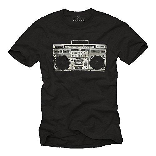 Hip Hop T-Shirt für Männer Ghettoblaster schwarz Größe XXXL