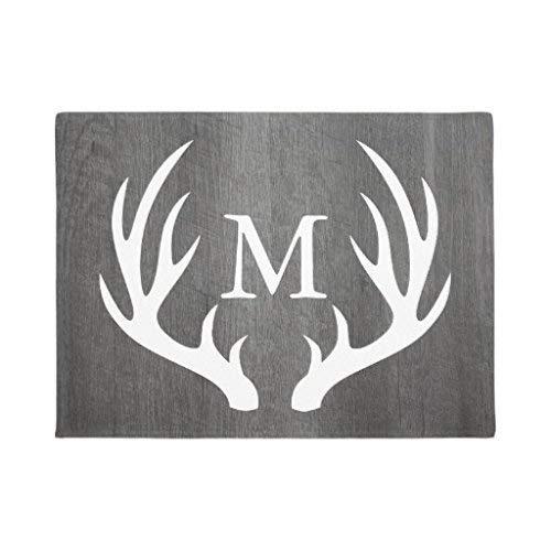 Rghkjlp Country Dark Grey Wood White Deer Antlers Monogram Indoor Floor Mats Door Rubber Mat for Entrance Way Decor Welcome Rug Size:16 x 24(40x60cm) Christmas Rugs Gifts