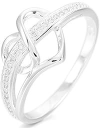 MunkiMix 925 Argent Fin 925/1000 Anneau Bague Bague Zircon CZ Oxyde de Zirconium Argent Coeur Cœur Mariage Amour Femme