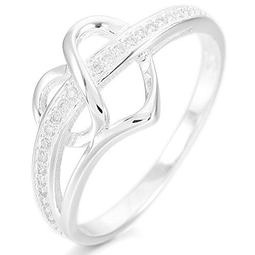 MunkiMix 925 Plata Anillo Ring Banda Venda Cz Cubic Zirconia Circonita Plata Corazón Heart Alianzas Boda Amor Love Talla Tamaño 20 Mujer