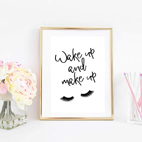 Din A4 Kunstdruck ungerahmt Wake up and make up, Wimpern, Spruch, Zitat, Typographie Beauty Mode Fashion Geschenk Druck Poster Bild