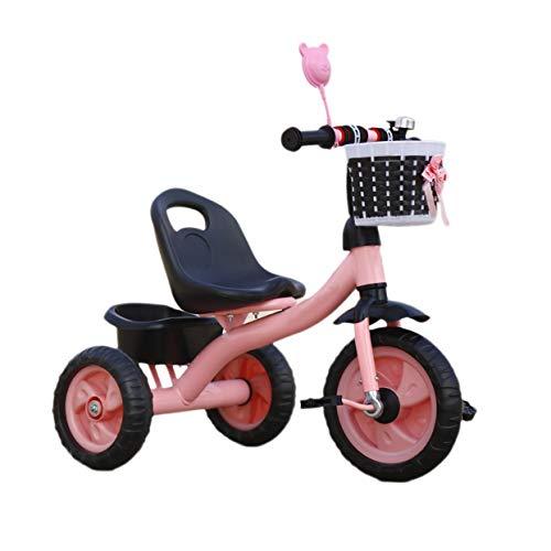 NBgy Dreirad, Kinder-Multifunktions-Dreirad Mit Ablagekorb, 2-6 Jahre Altes Baby-Dreirad, 2 Farben, 70x55x46cm (Farbe : Rosa) (Flyer-rosa Radio)