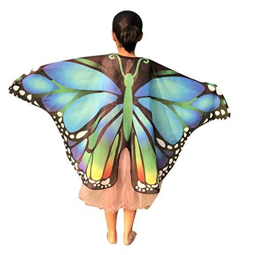 Quaan Halloween Kinder Karikatur Schmetterling Drucken Flügel Schals Poncho Kostüm Zubehörteil schön Gift niedlich Kostüme Vampir Dracula Kapuze Cape schwarz Horrorkostüm ()