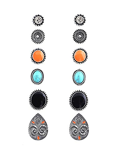6 Coppie Orecchini Stud Boho Assortiti Multiple Set Boho Turchese per Donne (Style-2)