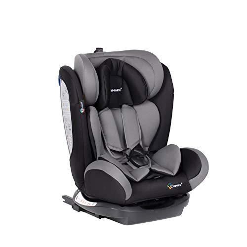 Clamaro \'Ranger 4in1\' Isofix Autokindersitz Gruppe 0+, I, II und III (0-36 kg), mitwachsender Baby- und Kinderautositz ab 0 bis 12 Jahre, verstellbare Kopfstütze und Rückenlehne, Schwarz/Grau