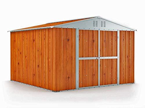 Notek box in acciaio zincato casetta da giardino in lamiera 3.27 x 3.07 m x h2.17 m - 145 kg - 9,4 metri quadri - legno