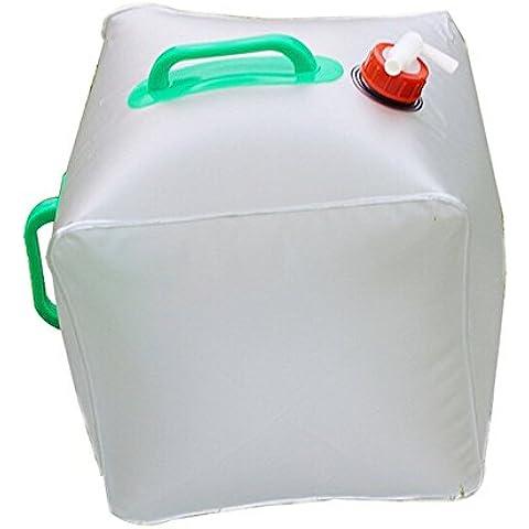 DAYAN plegable bolsa de agua - PVC plegable al aire libre plegable plegable transparente Beber agua bolsa del agua del coche de transporte de contenedores para acampar / Escalada / picnic / 20L Supervivencia de Emergencia