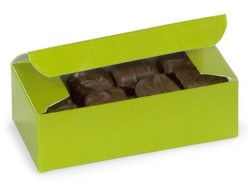 (Set of 10 - 1/2 lb. GLOSS LEAF APPLE GREEN Candy Wedding Party Favor Boxes 5.5