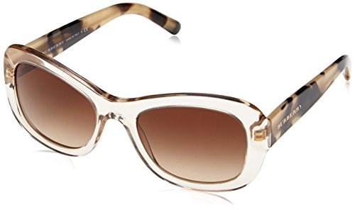 Burberry Damen BE 4189 Schmetterling Sonnenbrille, 350313, Transp Gray, Brown Grad