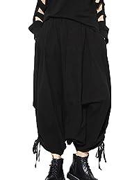 Mujeres Baggy Casual Cintura Elástica Pantalones Bombachos Negro
