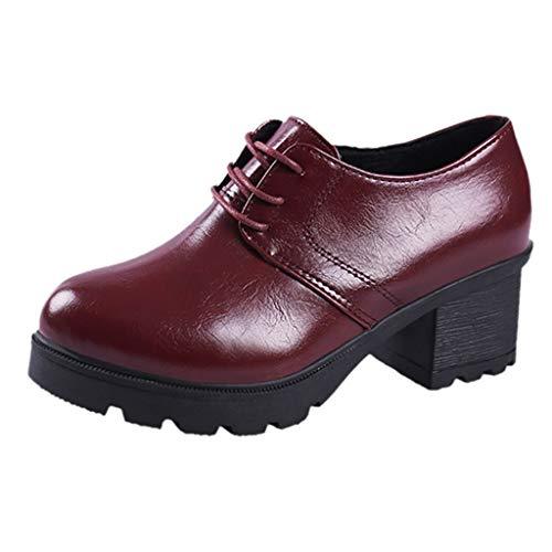 Dtuta Schuhe Damen Damen Plateau High Heel Dick mit Rundem Kopf Damenschuhe Student Freizeitschuhe England Schuhe,Britische Schuhe,Lederschuhe,Stiefeletten Damen Schwarz Schnürung