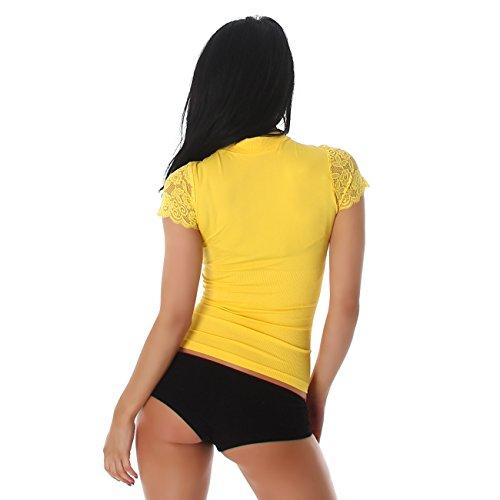 PF-Fashion Maglia Manica Corta Manica Corta Manica Corta Camicia Manica Corta Manica Corta Camicia da Donna Giallo