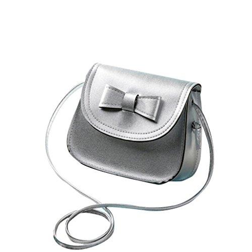 ZARU-Arbeiten-Sie-Frauen-Bowknot-Leder-Handtasche-einzelner-Schulter-Silber