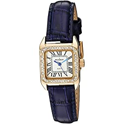 Peugeot Womens 14K Gold Plated Square Tank Petite Small Blue Leather Band Luxury Dress Watch 3052BL