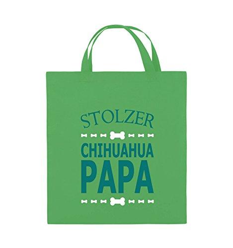 Comedy Bags - Stolzer Chihuahua Papa - Jutebeutel - kurze Henkel - 38x42cm - Farbe: Schwarz / Weiss-Neongrün Grün / Türkis-Weiss