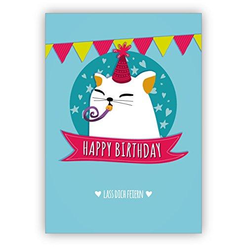 Lustige Geburtstagskarte mit Herz und süßer Party Katze: Happy Birthday Lass dich feiern