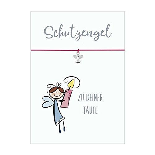 SCHUTZENGEL ZUR TAUFE Armband mit Anhänger Schutzengel versilbert, elastischem Textilband in pink und liebevoller Karte