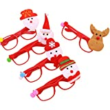 Amosfun 10pcs Christmas Cute Glasses Sunglasses Photo Props Party Favors Supplies Christmas Gift For Kids Birthday Costume Party Cosplay (Random Styles)