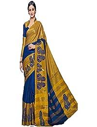Sunshine Fashion Women's Cotton Silk Saree With Blouse Piece (Sunsa2247,Blue,Free Size)