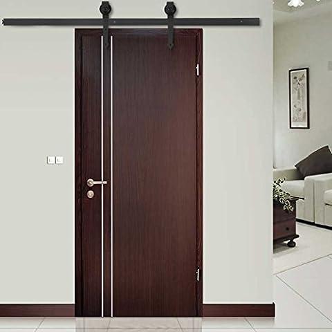Magicpeony New 6 FT Modern Door Hardware Closet Set Black