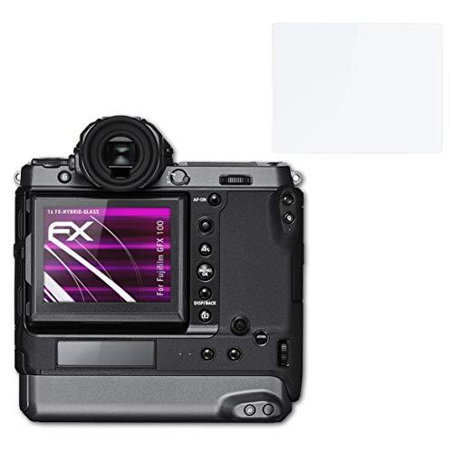 atFoliX Glasfolie kompatibel mit Fujifilm GFX 100 Panzerfolie, 9H Hybrid-Glass FX Schutzpanzer Folie (1er Set)
