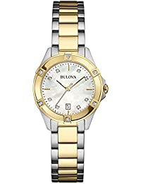 Bulova Womens Analogue Quartz Watch with Stainless Steel Gold Plated Strap 98W217
