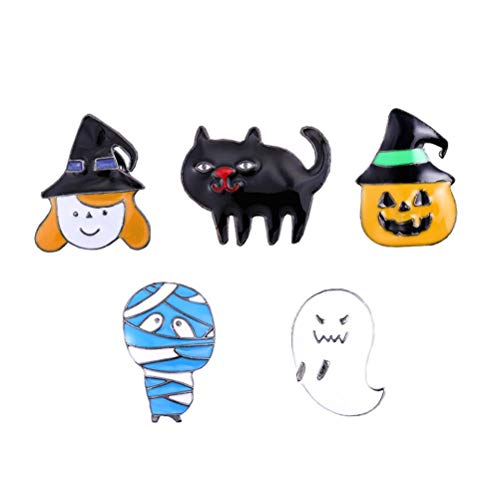 Amosfun 5 Stücke Halloween Anstecknadeln Spooky Brosche Cartoon Brosche Pins für Kinder Halloween Kostüm Party (Kinder Spooky Halloween-cartoons Für)