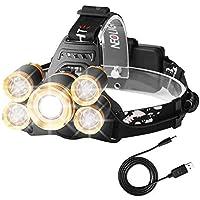Neolight Lampe Frontale Super Puissante 5 LED, Lampe Torche LED Zoomable et Étanche,Idéal pour la Cave,le Camping, la Chasse,l'Excursion, la Pêche,les Travaux de Mine, la Recherche H04 Or