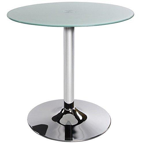 Table basse BISTRO ronde en verre blanc trempé