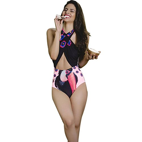Bellelove Frauen Bademode Bikini Animals Print Halter Push-Up gepolsterte Bade Beachwear (S, Schwarz)
