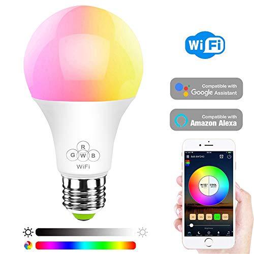 HaoDeng WLAN Smart LED 6.5W Lampe WIFI Beleuchtung, dimmbar Kompatibel mit Alexa, Ifttt, Google Home 16 Mio Farbige Leuchtmittel E27
