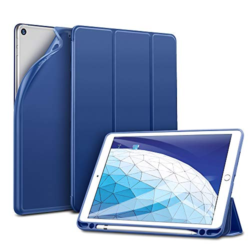 "ESR Funda para iPad Air 3ª generación 2019/ iPad 2019 con Portalápices, Funda Smart Plegable Flexible de Goma Suave con Soporte para Apple Pencil para iPad 2019 de 10.5""-Azul"
