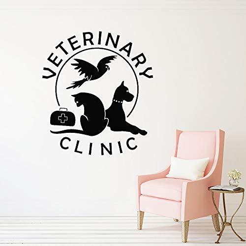 guijiumai Krankenhaus Shop Katze Hund Wandtattoo Haustier Tierklinik Vinyl Wandaufkleber Salon Kunstwand Abnehmbare Fensteraufkleber grau 85x96 cm (Hund Diamant Essen)