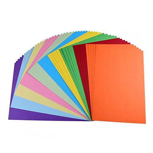 farbkarton 50 Blatt Fotokarton farbig sortiert, DIN A4, 10 verschiedene Farben, hochwertige 220 g/qm Qualität