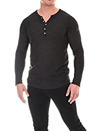 COEN BALE Herren T-Shirt Feinstrick Pullover Pulli Langarm Regular Fit  Rundhals mit Knopfleiste Meliert 225f4705db