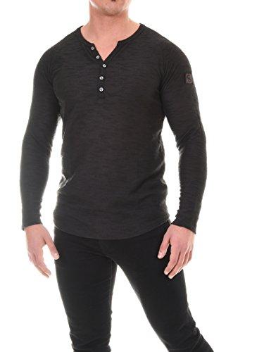 COEN BALE Herren T-Shirt Feinstrick Pullover Pulli Langarm Regular Fit Rundhals mit Knopfleiste Meliert Gym Fitness Trainingsshirt Training Schwarz XXX-Large