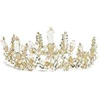 SODIAL Tiara Corona de perla de cristal de oro de boda nupcial barroco reina Diadema Banda