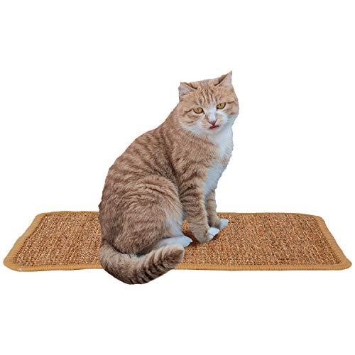 AIEX Katzen Kratzmatt, Natur Sisal Katzenkratzpads Katzenteppich Rutschfester Kratzbaum Matte für Katzenkratzkrallen und Schlafen(37,9x30cm)