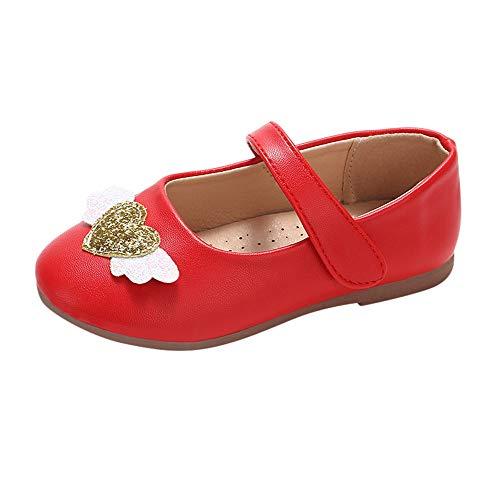 Sonnena Einzelne Schuhe Kleinkind Niedlich Schuhe Kinderschuhe Baby Mädchen Herz Flügel Schuhe Lederschuhe Leichtgewicht Rutschfeste Prinzessin Schuhe Shoes