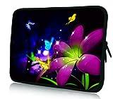 Luxburg® Design Laptoptasche Notebooktasche Sleeve für 10,2 Zoll (auch in 10,2 Zoll | 12,1 Zoll | 13,3 Zoll | 14,2 Zoll | 15,6 Zoll | 17,3 Zoll) , Motiv: Große Blume mit Schmetterlingen