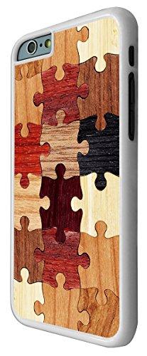 557-Cool Funky Wooden Puzzle Print Look Design Coque iPhone 66S 4.7Design Fashion Trend Case Back Cover Métal et Plastique-Blanc