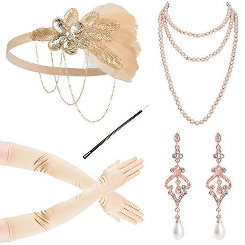 Zivyes 1310es 1920er Jahre Flapper Zubehör für Frauen 20er Jahre Kostüm Zubehör Set Flapper Stirnband Handschuhe Halskette Zigarettenhalter