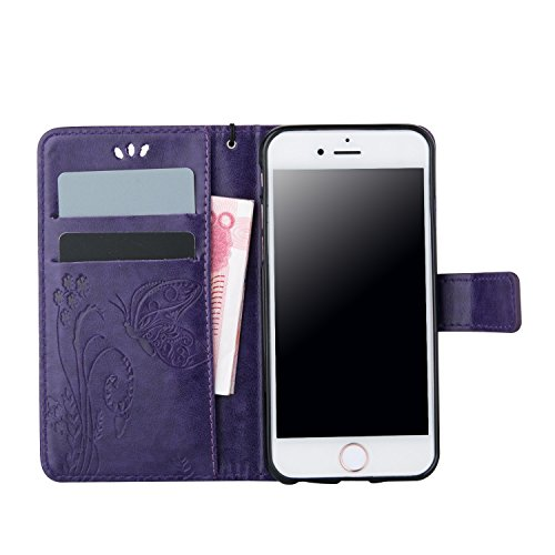 iPhone Case Cover Schmetterling Blumen prägeartigen PU-ledernen Schlag-Standplatz-Mappen-Kasten mit Handbügel-Karten-Schlitzen für iPhone 6 6S Plus ( Color : Brown , Size : IPhone 6S Plus ) Purple