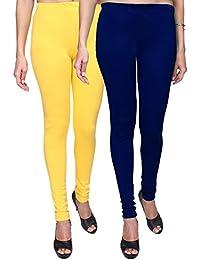 Trasa Leggings For Womens And Girls Cotton Lycra Multicolour Churidar Leggings - XXXXXL - Yellow, Royal Blue -...