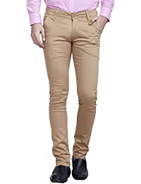 Nimegh Khaki Colored Cotton Casual Solid Trouser For Men's